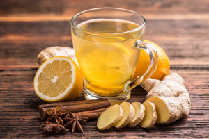 Warm ginger tea with lemon